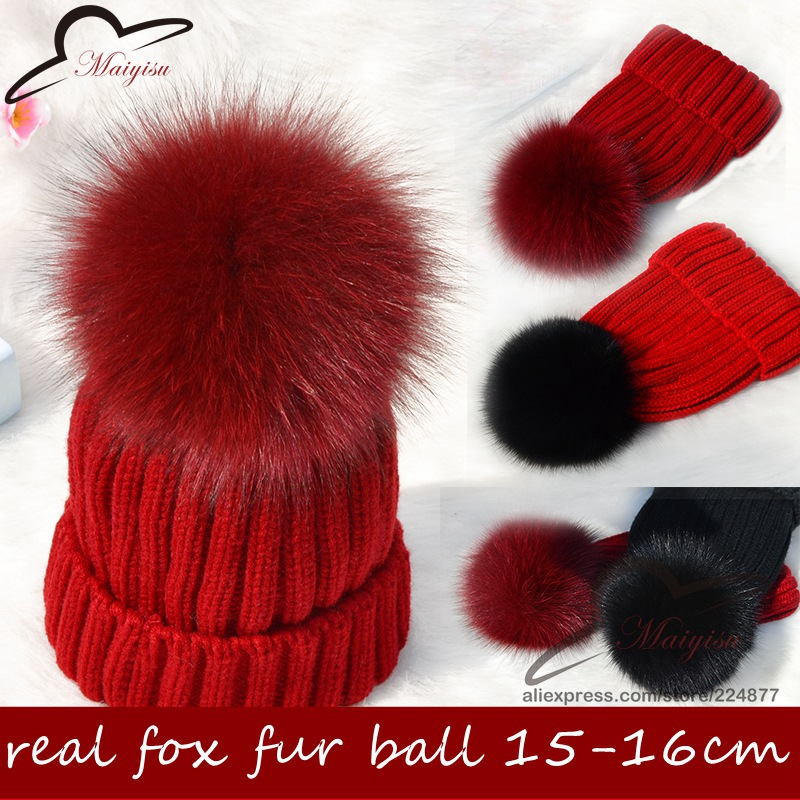 Big Genuine Real Fox Fur Pompom Winter Hat Cap Warm Knitted Bobble Mink Fur Pom Poms Beanie Hat Women Ski Hat With Pom pon Ball 10cm real fox fur ball keychain on the keys fluffy real fur pompom car for couples fur ball key chains fur cap beanie