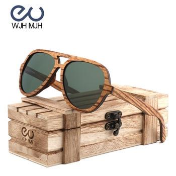 75775c3c45 Clásico piloto gafas De Sol polarizadas G15 De la Lente De Cristal De las  mujeres De la moda De la marca De los hombres De madera De cebra marco gafas  De ...