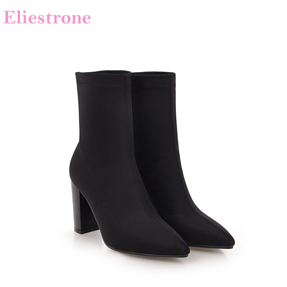 ba9eb01905f Hot Brand New Winter Fashion Wine Red Black Mid Calf Women Riding Boots  Lady Nude Shoes