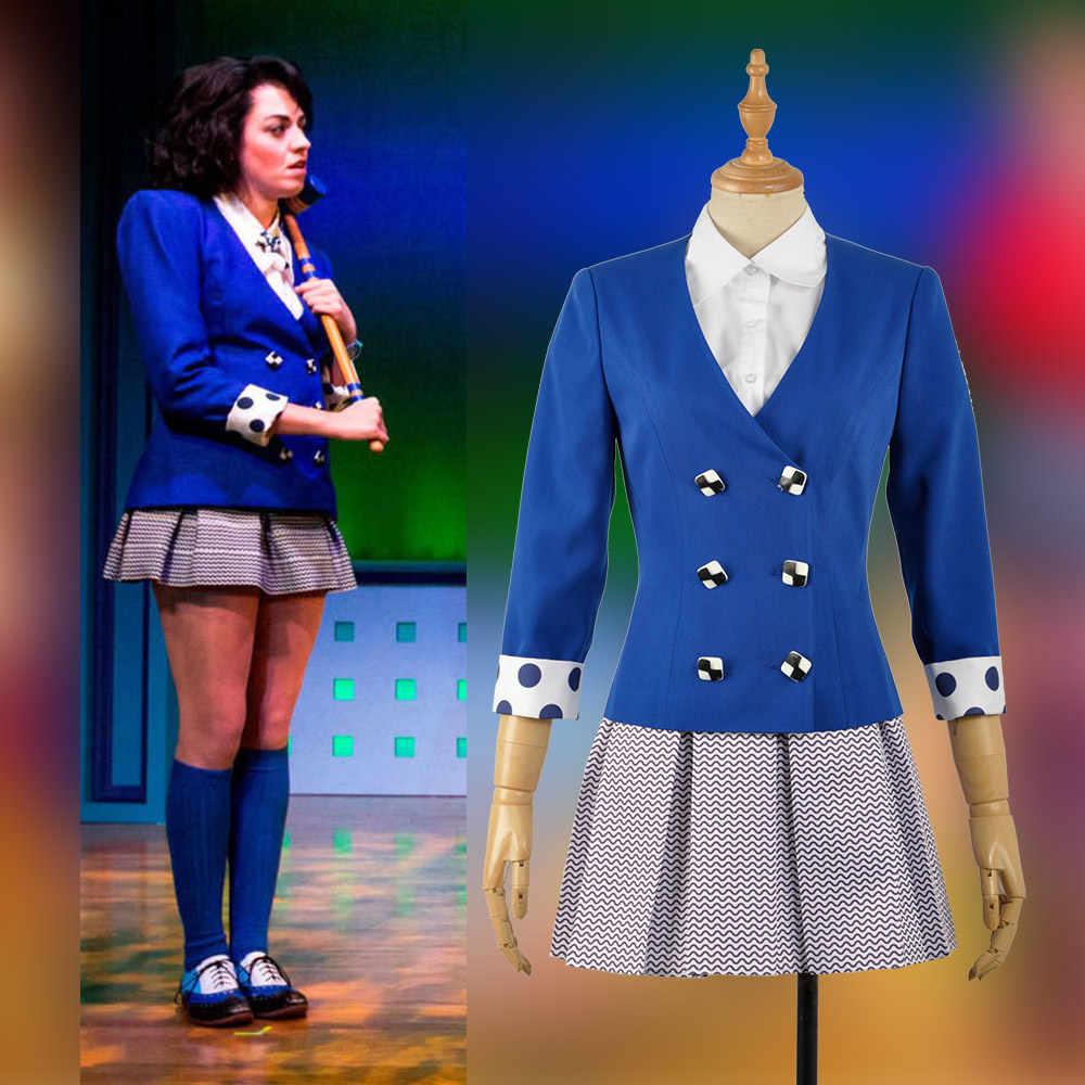 En Stock XS-XL Heathers The Musical Rock Verónica Saxon Stage Dress concierto Cosplay disfraz mujer uniforme chaqueta azul