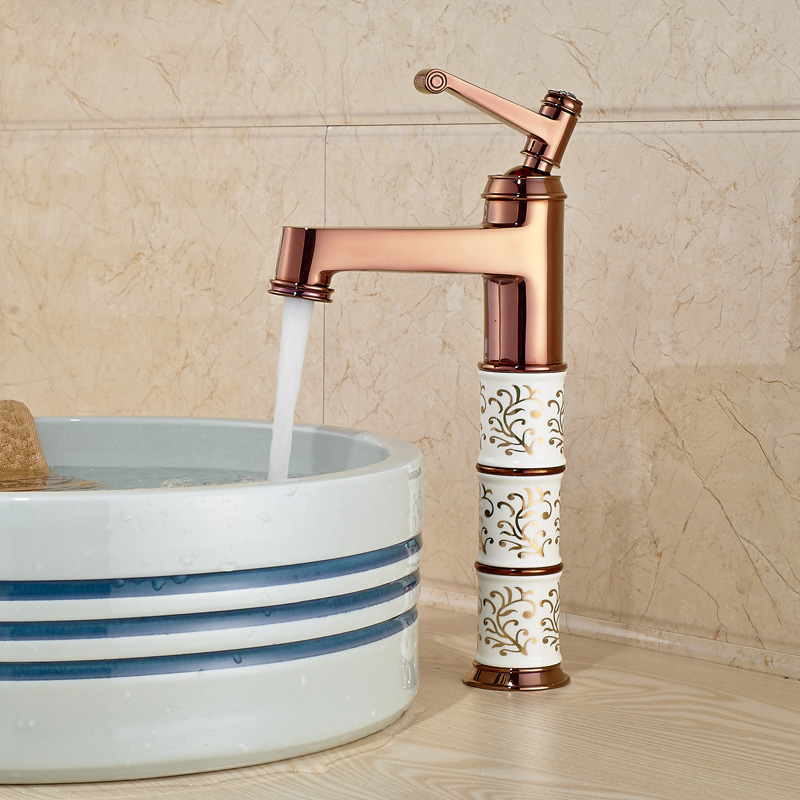 Rose Golden Ceramics Brass Basin Vanity Sink Faucet Bathroom Basin Mixer Tap Hot/Cold цена 2017