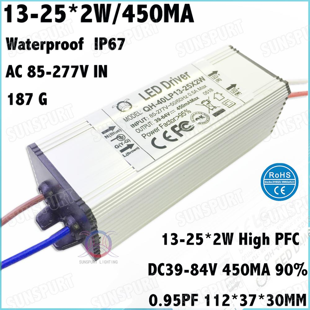 2-10 Pieces Waterproof High PFC 40W AC85-277V LED Driver 13-25Cx2W 450mA DC39-84V Constant Current For Spotlights Free Shipping