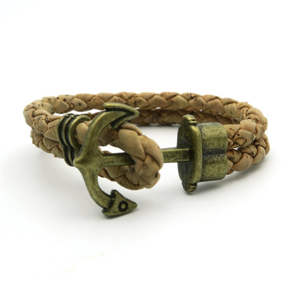 Men bracelet Natural cork Braided original handmade wood wholesale jewelry