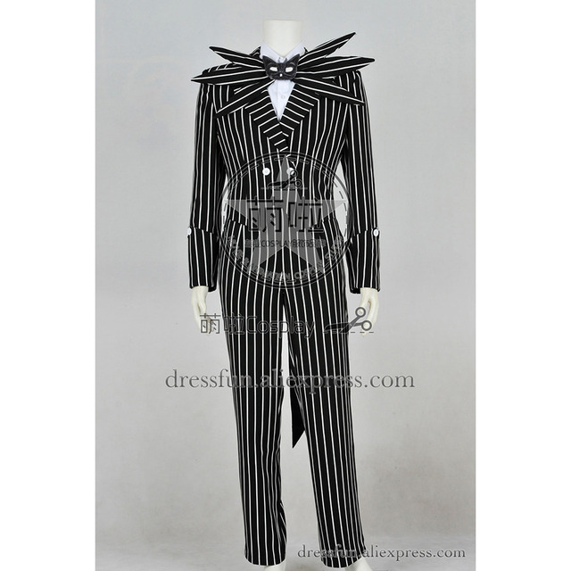 597e74a4351d1 The Nightmare Before Christmas Cosplay Jack Skellington Costume Black  Stripe Suit Jacket Party Halloween Dress Fast Shipping