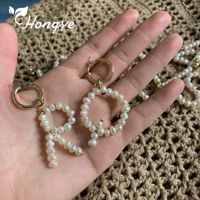 Hongye Tín Nữ Mặt Dây Chuyền Cổ Ban Đầu Chữ A-Z Ngọc Trai Quyến Rũ Thời Trang Trang Sức Vàng Cổ Dây Chuyền Baroque Ngọc Trai Tự Nhiên