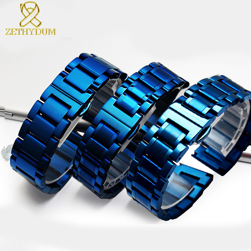 Solid Stainless Steel Bracelet Blue Color Watches Band Smart Watches Strap 18 20 21 22mm Watchband Watch Band Metal