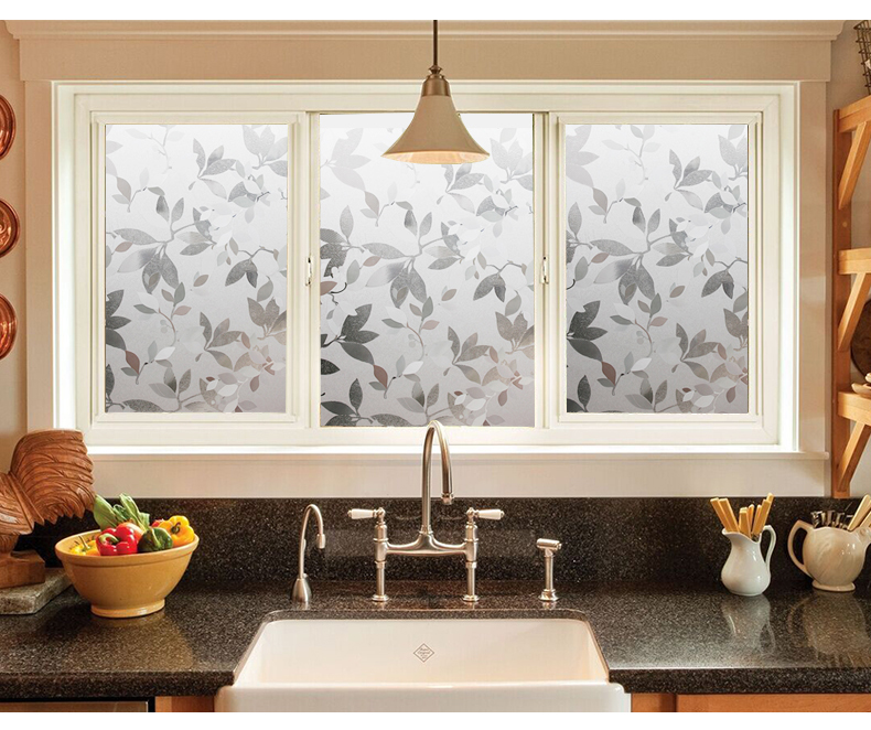 60*100cm 3D Leaf Matt mosaic window glass film Bathroom stickers static Vinyl decals visual Light Explosion proof grilles paper  цены