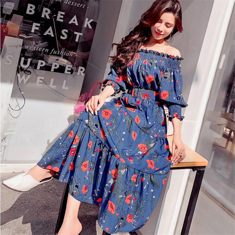 6dcf7486e3 2018 New fashion women summer dress sashes Bohemian Style sexy beach  holiday dresses chiffon print Korean slash neck clothing-in Dresses from  Women's ...