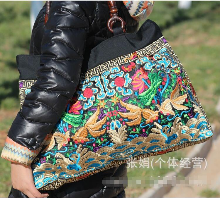 Ethnic embroidery bags wholesale fashion personality Ethnic Chinese style shoulder bag big bag lady handbag linen top handle bag chinese national style handbag women handmade tassal embroidery flower lady casual totes big shoulder bag