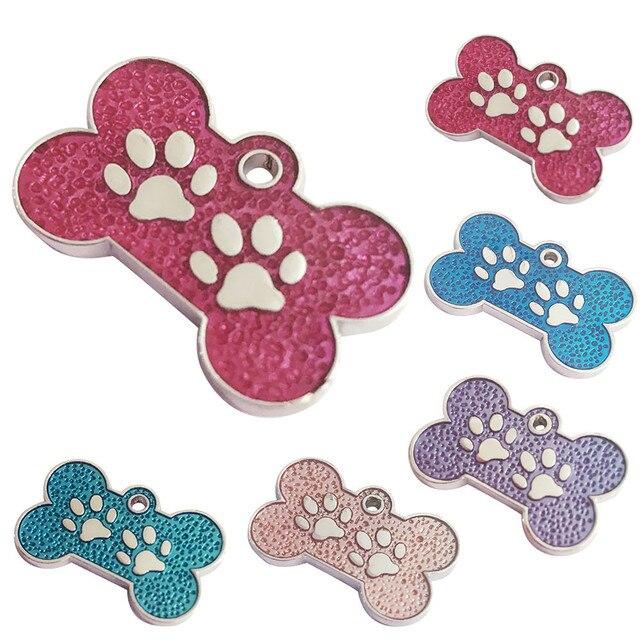 Collare dell'animale domestico di cane ID tag di Fascino Osso Scintillio Zampa D