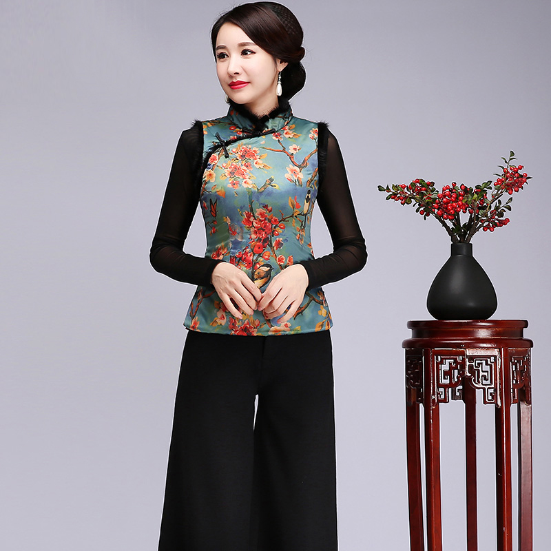 Classique dame hiver nouveau chaud gilet chinois traditionnel imprimé fleur chemise Plus velours épais vêtements Vintage Blouse grande taille 4XL