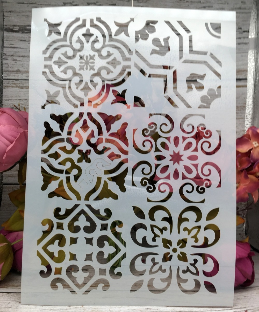A4 Flower Frame DIY Layering Stencils Wall Painting Scrapbook Coloring Embossing Album Decorative Paper Card Template