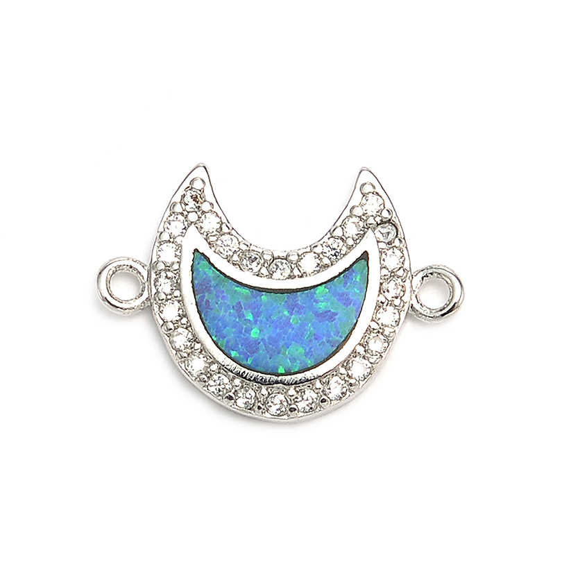 Pipitree גדול כחול אש אופל ירח קסם מיקרו פייב קטן לבן CZ מבריק פליז קסמי לנשים תכשיטי ביצוע צמידים בעבודת יד