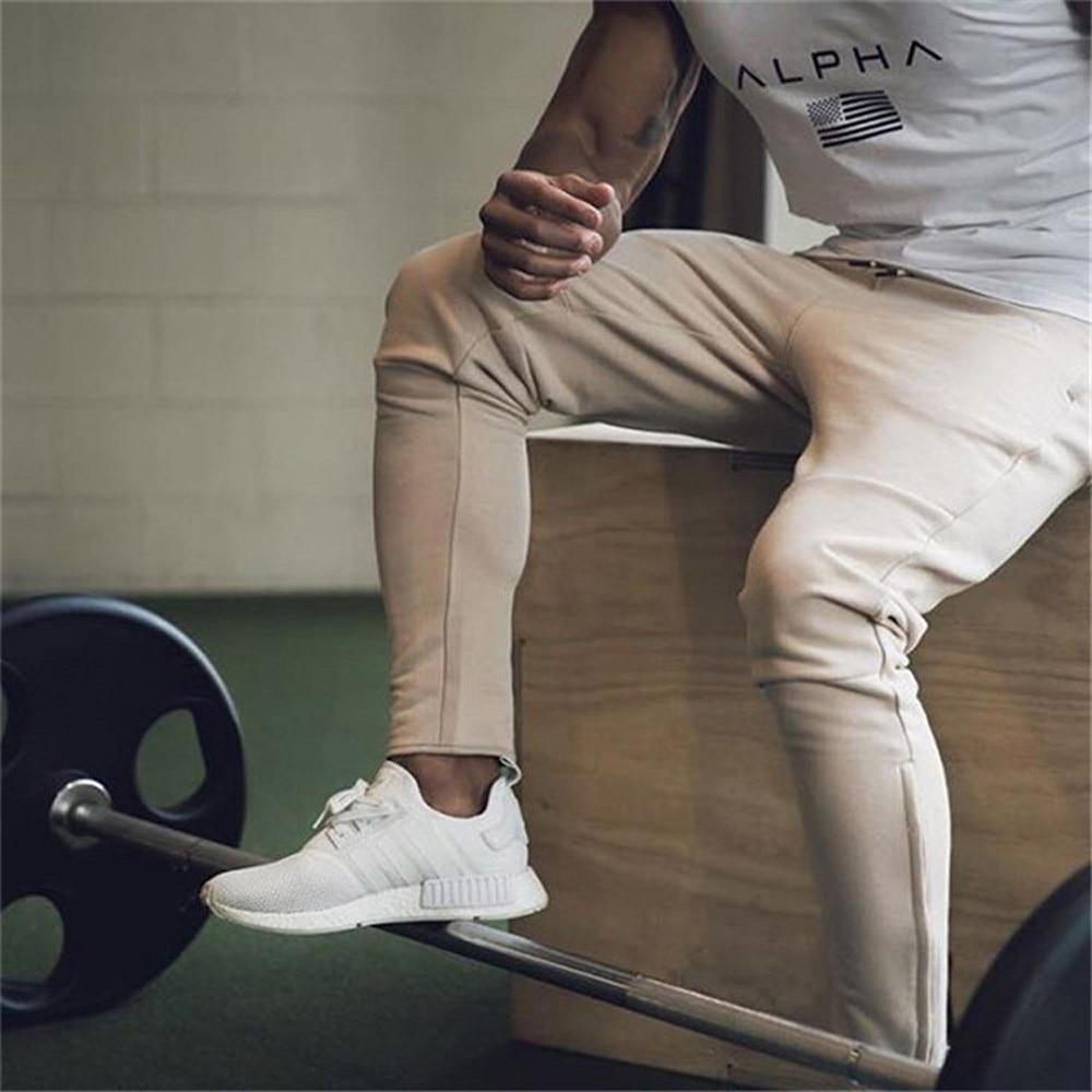2019 New Men's Sweatpants Man Slim Gyms Fitness Joggers Workout Trousers Male Casual Cotton Pants Fashion Streetwear Full Pant