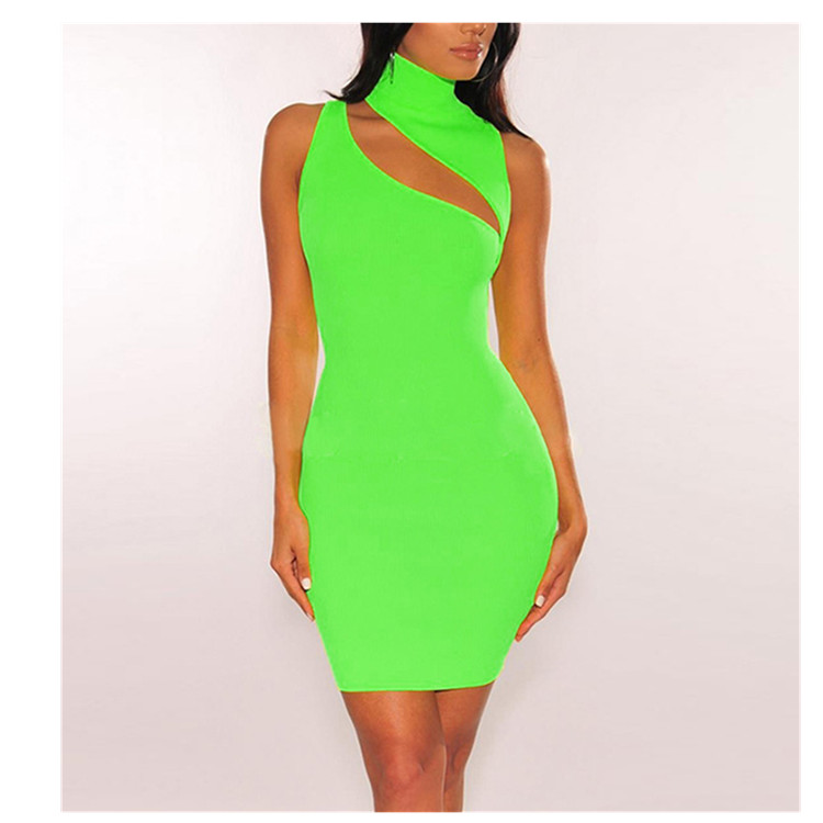 Fashion 2019 Summer Women Sleeveless Bodycon Dress Bandage Club Party Dress Sexy Hollow Out Mini Dress in Dresses from Women 39 s Clothing