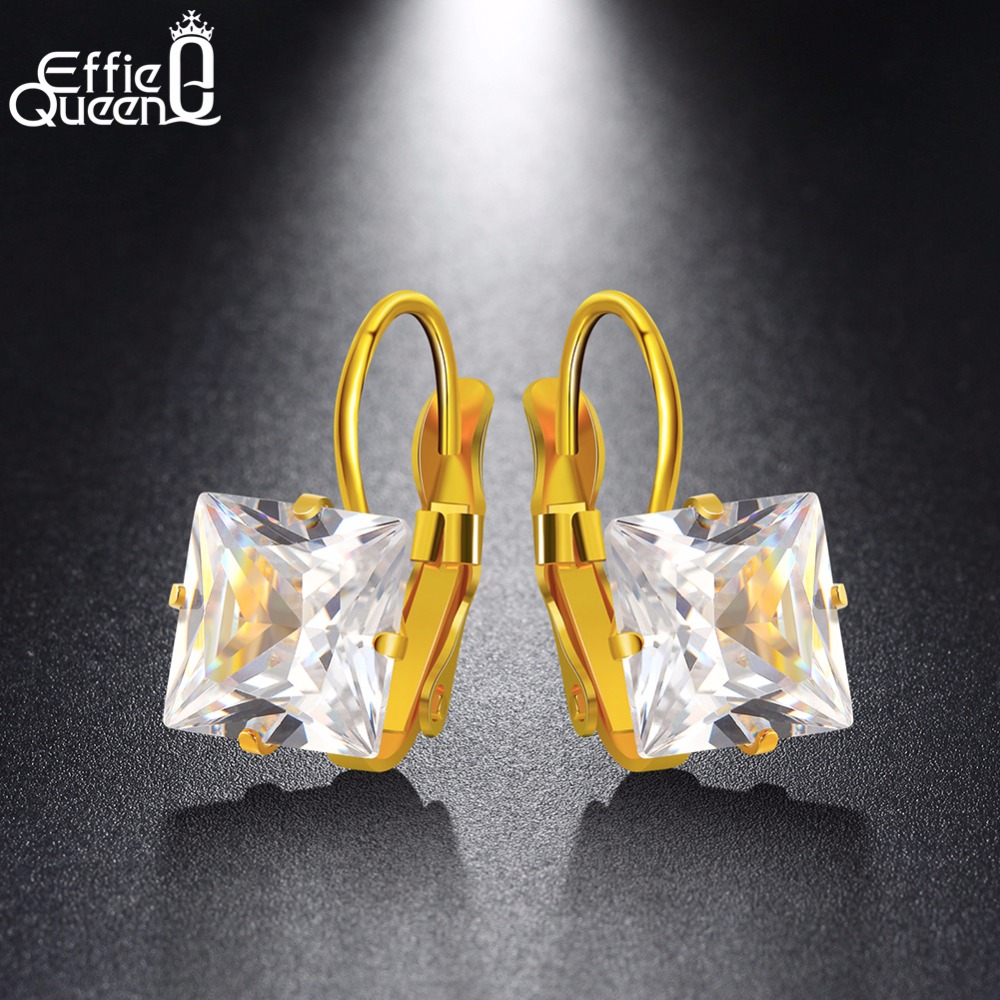 12cccc6c9 Detail Feedback Questions about Effie Queen Gold  color 5 Color CZ Zircon  Square Hoop Earrings For Women Fashion Wedding Jewelry Stainless Steel  Earring ...