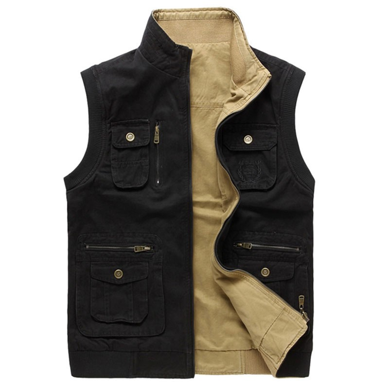 M~3XL 2015 Autumn Spring Reversible Casual Men Vest Coat AFS JEEP Cotton Pocket Cargo Outdoor Sleeveless Jackets Waistcoat Vests (22)