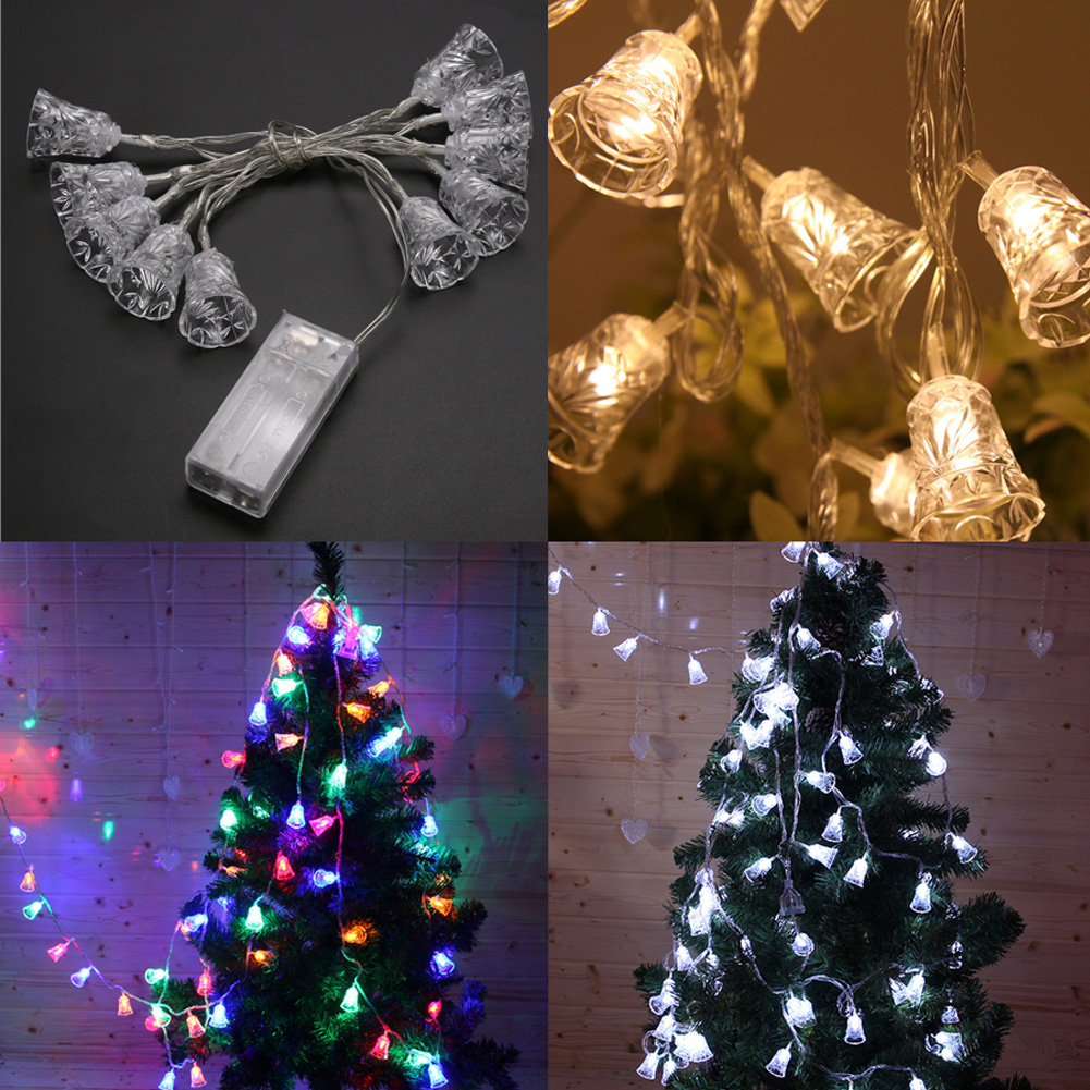 12m christmas bell lights outdoor light garland wedding string light fairy lighting new years product in lighting strings from lights lighting on
