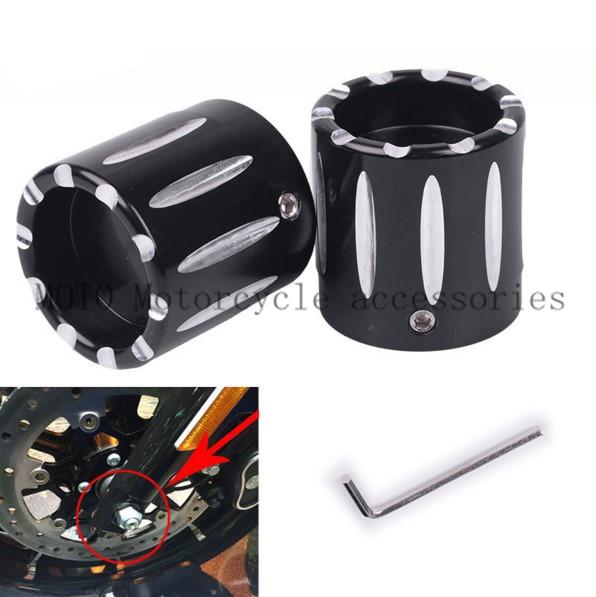 Black CNC Billet Aluminum Motorcycle Front Axle Nut Caps Covers Axle Cap For Harley Choppers Cover Front Axle Nut Covers Parts meziere wp101b sbc billet elec w p