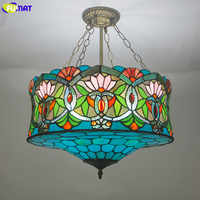 FUMAT Stained Glass Pendant Lamps Blue Green Color Glass LED pendant lights suspension luminaire hanglamp Mediterranean Lamp