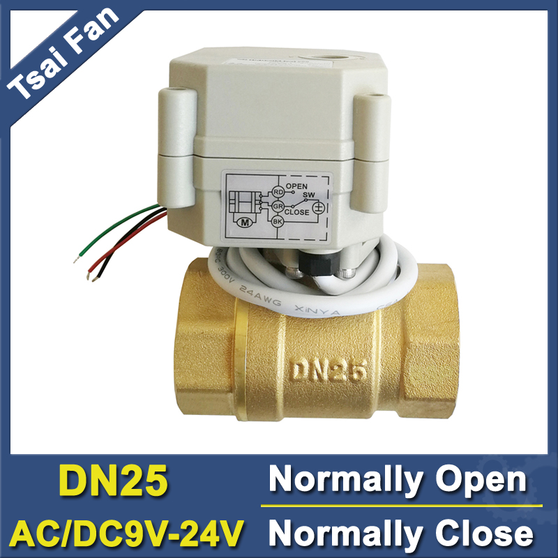 TF25-B2-C AC/DC9V-24V 1 Brass Full Port 2 Way Normally Close/Open Motorized Valve 2/5 Wires Capacitors Power Off ReturnTF25-B2-C AC/DC9V-24V 1 Brass Full Port 2 Way Normally Close/Open Motorized Valve 2/5 Wires Capacitors Power Off Return