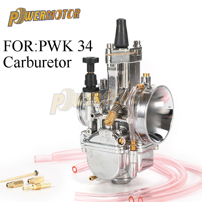 New silver Carburador Carburetor for Mikuni Maikuni PWK34 34mm Carb Parts 125cc to 250cc Scooters With Power Jet Motorcycle ATV