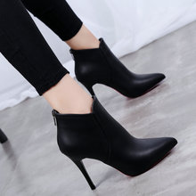 2018 New Boots Female Winter Cotton Shoes With Pointed High heeledWomen Warm