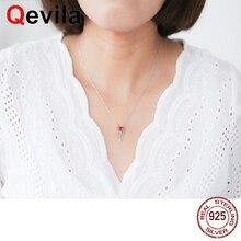 Qevila ювелирные изделия ожерелье s Настоящее серебро 925 пробы ожерелье роза Сердце Подвески в виде пера для женщин девочек Harajuku