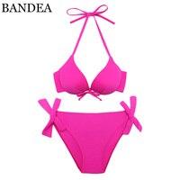 Trangel Bikini Push Up Swimwear Halter Top Bikinis Women Swimsuit Solid Bathing Suits Women Biquini Swimming