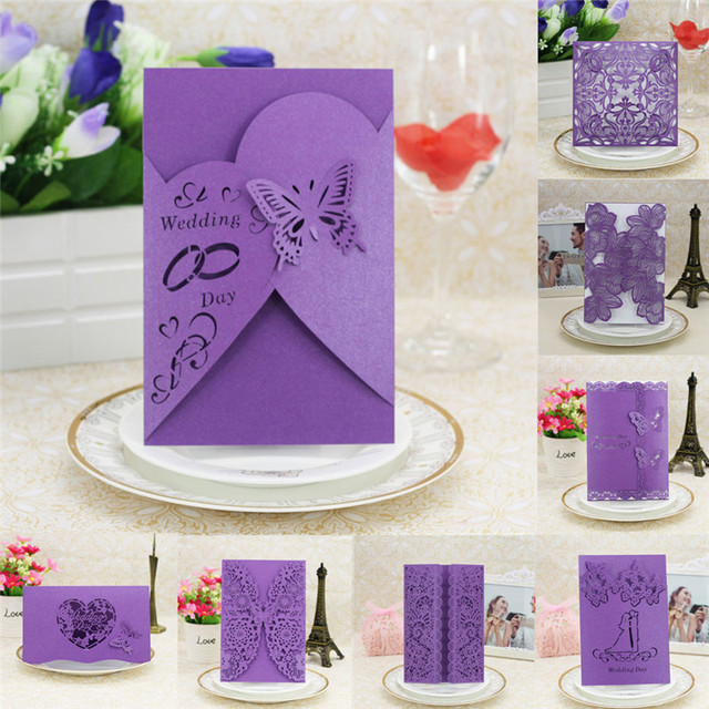 20pcs Purple Delicate Carved Wedding Party Invitation Card Envelope Dinner Cards Decoration Cover Drop