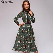 3f4ba029e1 Capucins rocznika Patchwork druku kobiety sukienka 2018 jesień Casual długie  rękawy stań Collar połowy łydki linii sukienka kobi.