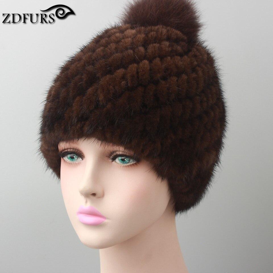 e97cae503da95a Hot sale real mink fur hat for women winter knitted mink fur beanies ...