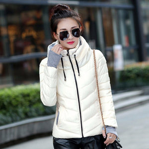Image 4 - 2019 hooded women winter jacket short cotton padded womens coat autumn casaco feminino inverno solid color parka stand collar