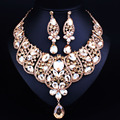 2016 New Arrival African Beads Jewelry Sets Wedding Dress Accessories Gold Plated Necklace Earring Set For Brides Women Jewelry