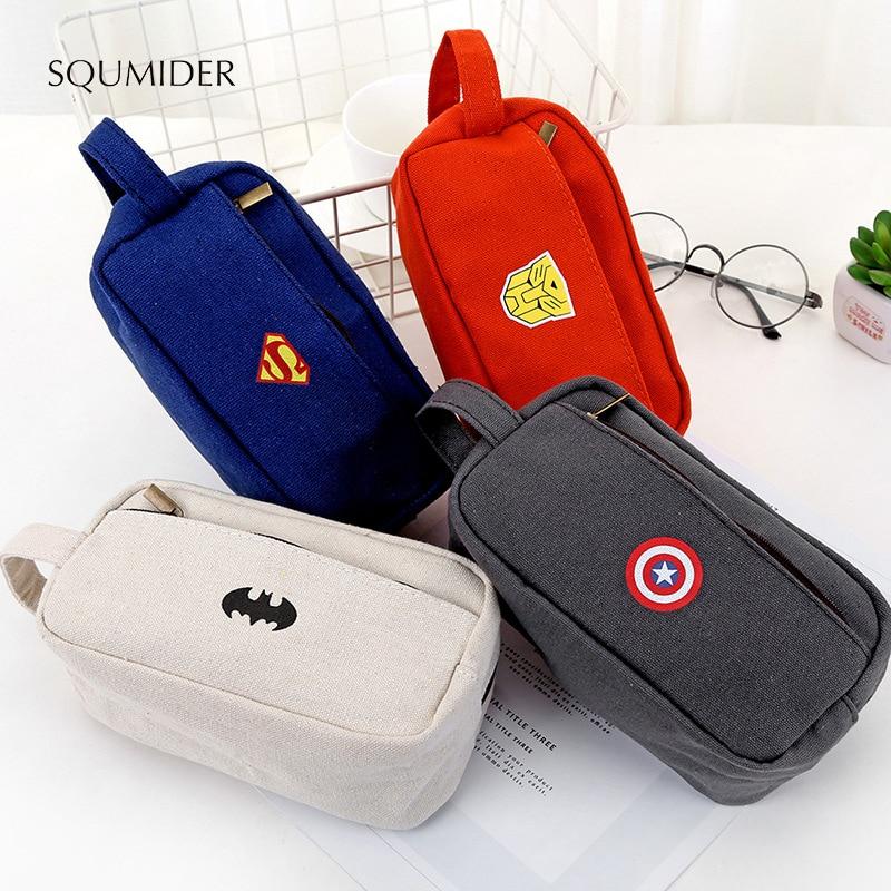 SQUMIDER Superhero Canvas Pencil Case Creative Large Capacity Side Open Zipper Pencil Bag School Stationery