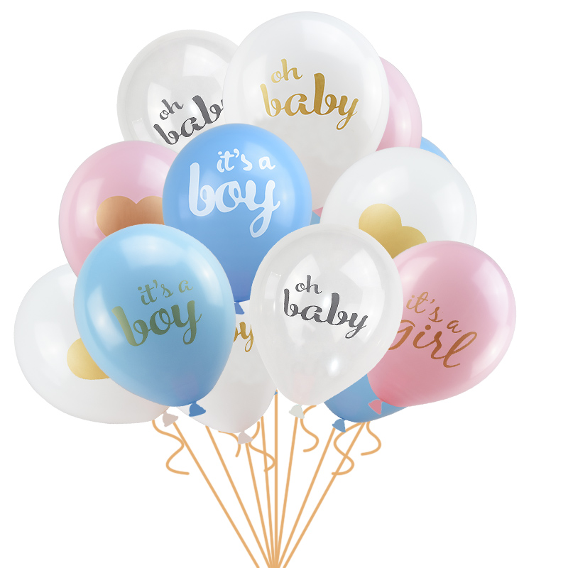 """** 8 X LATEX BALLOONS 12/"""" GIRL OR BOY GENDER REVEAL PARTY DECORATION HELIUM BABY"""