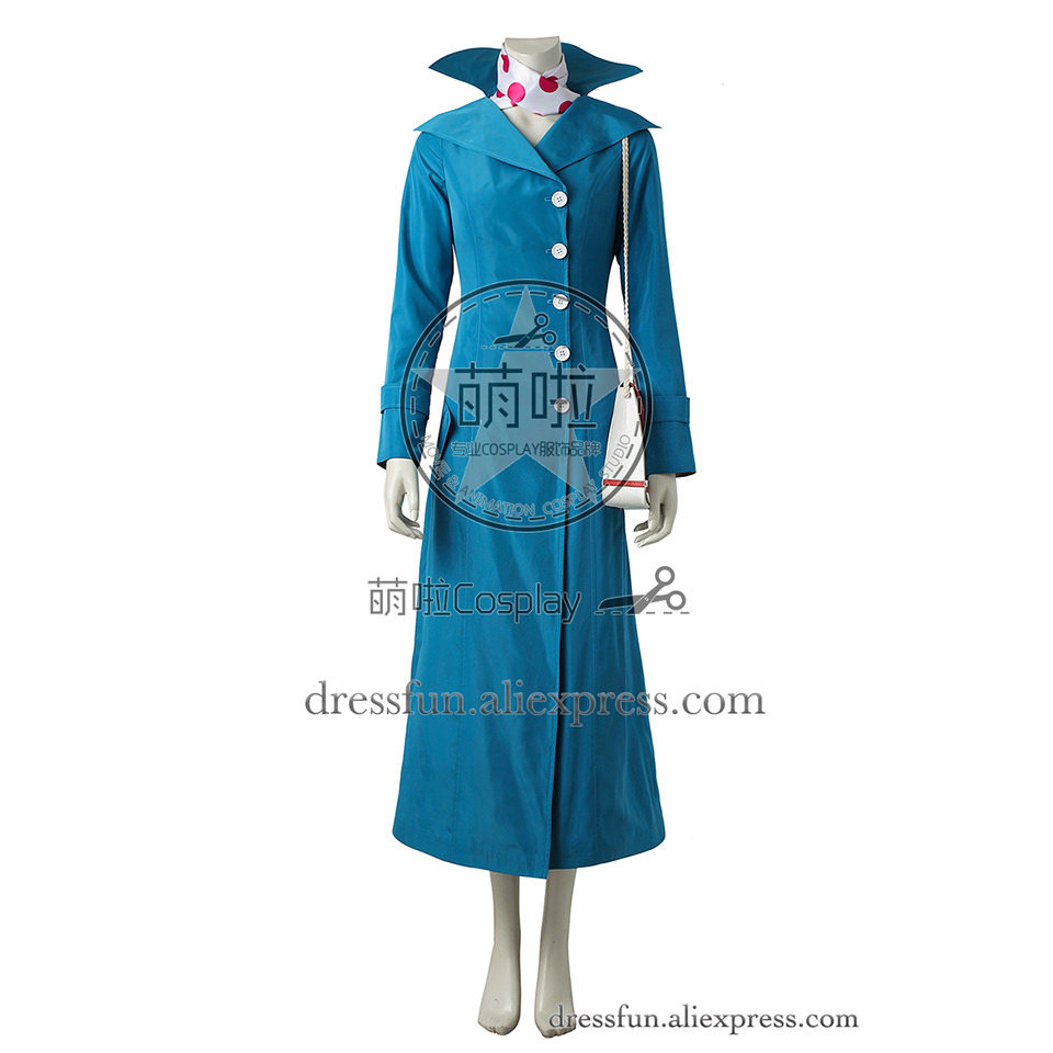 Despicable Me 3 Cosplay Costume Lucy Wilde Costume Outfits White Uniform Full Set Bule Trench Coat Fashion Halloween Party Fast