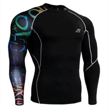 Men Compression Tights Shirts 3D 3D Prints Long Sleeves Top  MMA Fitness Exercise Body Building Weight Lifting Casual T-Shirts