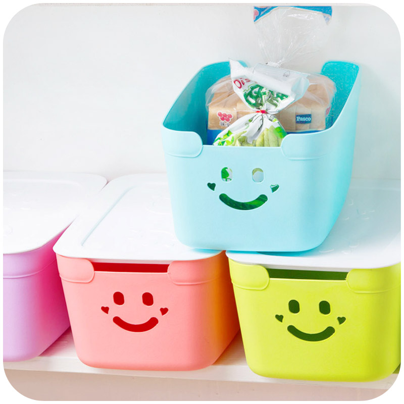 Cute Candy Colored Smiley Plastic Storage Box Creative Home Supplies  Thickened With A Lid Desktop.