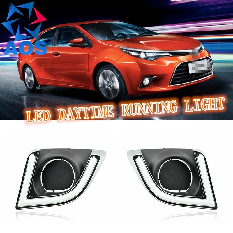 2шт/набор СИД DRL автомобилей дневного света для Toyota Левин 2014 2015 с функцией сигнальной лампы