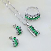 Green Cubic Zirconia White Crystal 925 Sterling Silver Jewelry Sets For Women Wedding Stud Earrings/Pendant/Necklace/Ring