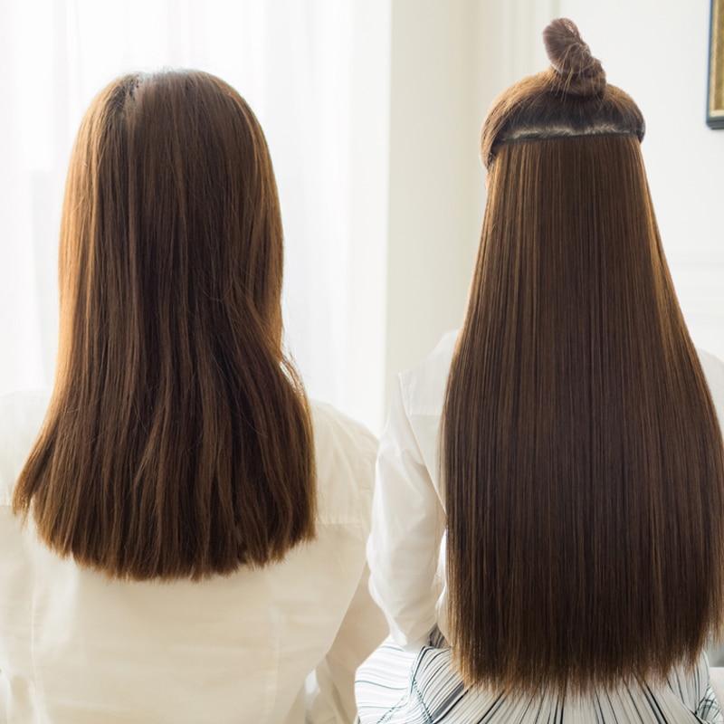 AOSIWIG Long Straight Women Clip i Hårförlängningar Black Brown - Syntetiskt hår - Foto 4