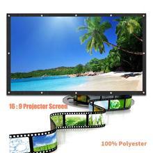3 डी एचडी वॉल माउंट प्रोजेक्शन स्क्रीन 16: 9 एचडी 60/72/84/100/120 इंच प्रोजेक्टर स्क्रीन फाइबर कैनवास पर्दे होम थिएटर न्यू के लिए