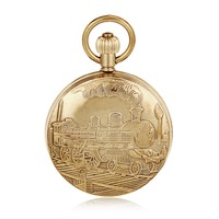 Shining Copper Running Train Design Vintage Mechanical Hand Wind Roman Number Dial Pocket Watch W Chain