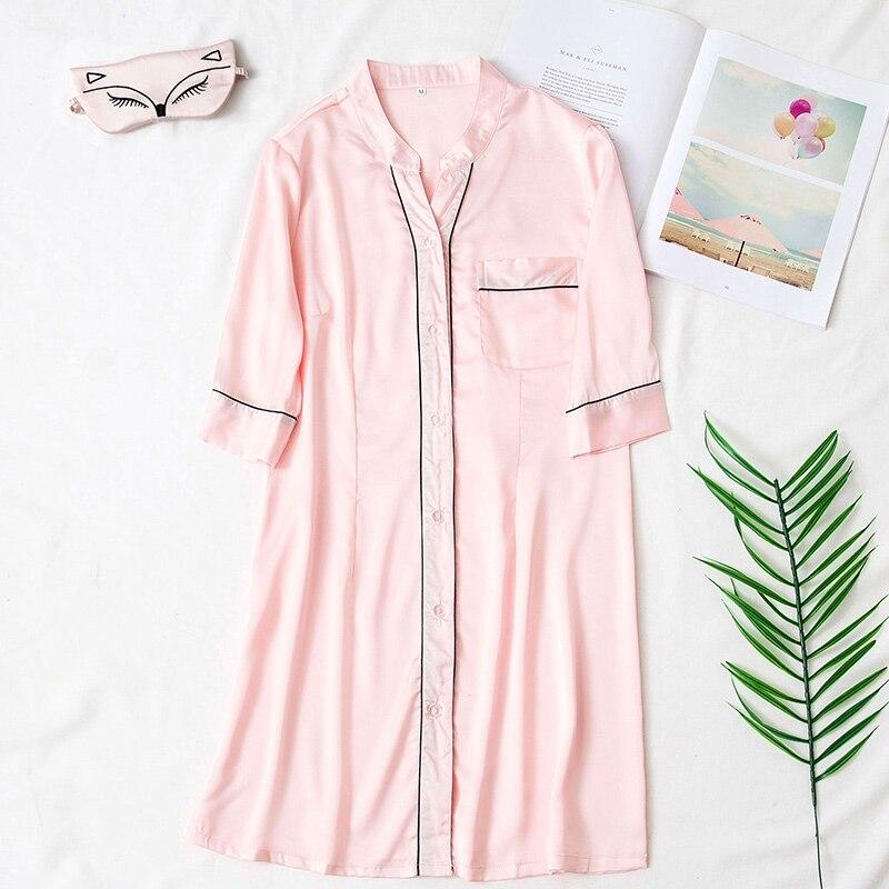 Silk Satin Sexy Half Sleeve Women   Nightgown   Button V-Neck Pocket Female   Sleepshirts   2018 Autumn Solid Mini Fashion Night Dress