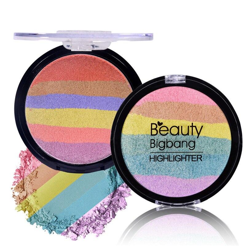 BeautyBigBang Regenbogen Kosmetik Highlighter Pulver Palette Bronzer Contour Weiche Mineral Gesicht Make-Up-Palette Maquiagem