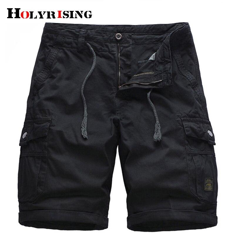 Holyrising Men Short Homme Cargo Short Mens Summer Cotton Cool Brand Shorts Knee Length Bermuda Masculina 18826-5