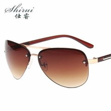 цена на Men's Sunglasses Brand Designer Pilot Rimless Male Sun Glasses Eyeglasses gafas oculos de sol masculino For Men Shades #SR107