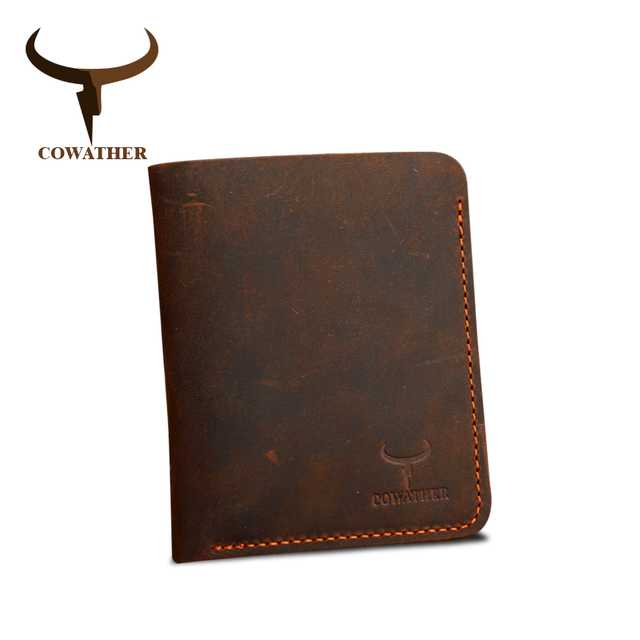 COWATHER Crazy horse leather men wallets Vintage genuine leather wallet for men cowboy top leather thin to put free shipping 1