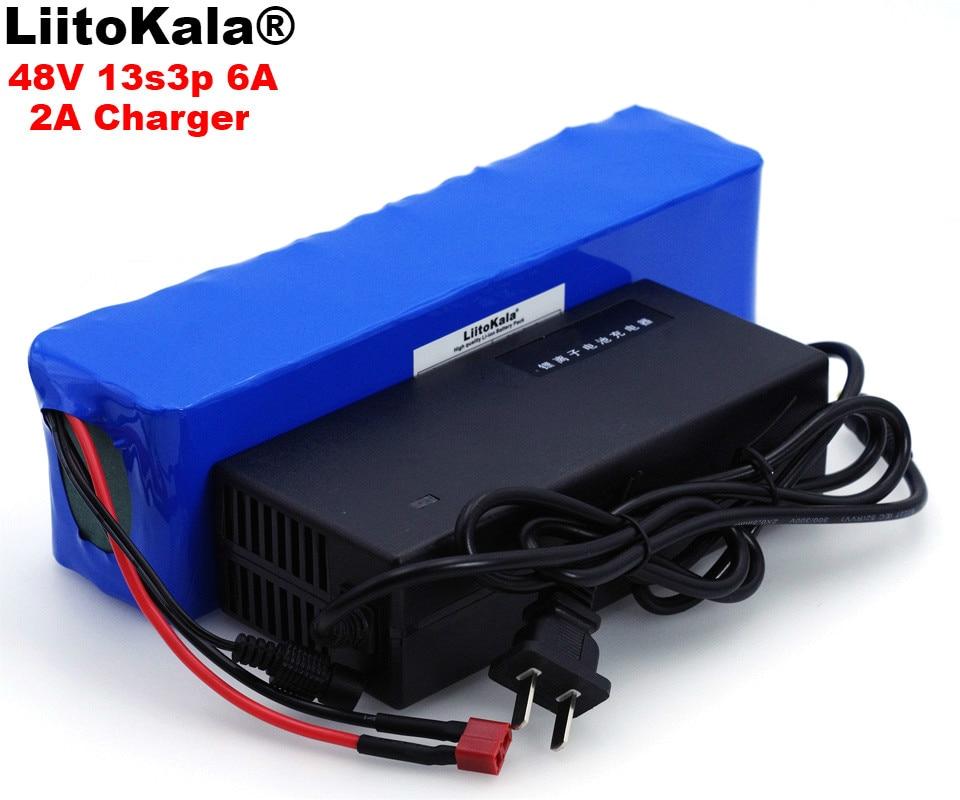 LiitoKala 48 v 6ah 13s3p Ad Alta Potenza 18650 Batteria Del Veicolo Elettrico Moto Elettrica FAI DA TE Batteria 48 v di Protezione BMS + 2A Caricatore